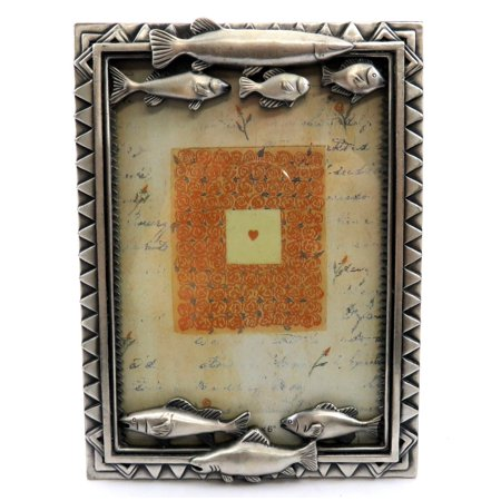 Pewter picture frame with 4 fish along the top and 3 fish along the bottom PF7