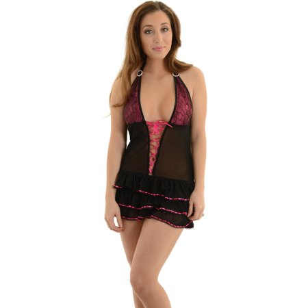Women's Black Pink Chemise Halter Nightgown Lace Up Front Shirley Lingerie