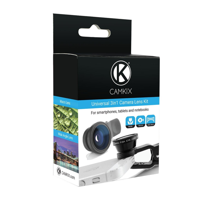 Camkix Universal 3 in 1 Cell Phone Camera Lens Kit - Fish Eye Lens/2 in 1 Macro Lens & Wide Angle Lens/Universal Clip (Black)
