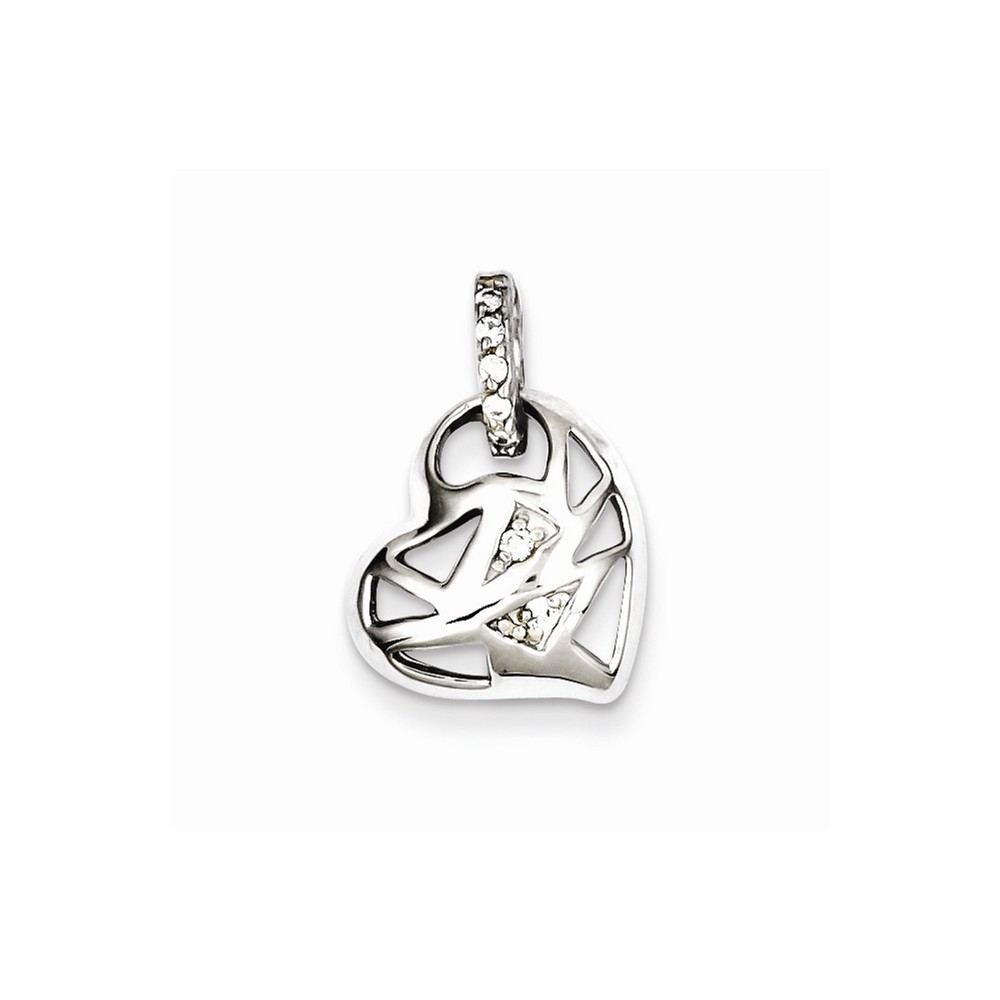 Sterling Silver Rhodium Plated CZ Heart Charm (0.5in)