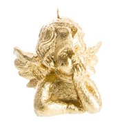 Gold Angel Head Christmas Candle