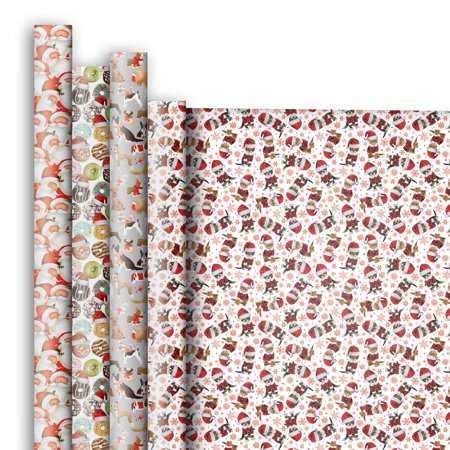 Jillson & Roberts Premium Gift Wrap Jumbo Roll Assortment, Christmas Designs (4 Rolls)