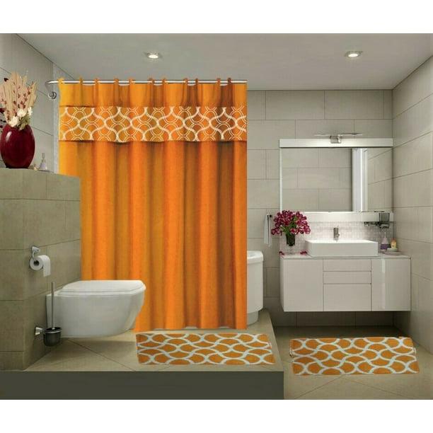 15 Piece Bathroom Set 2 Rugs Mats 1 Fabric Shower Curtain 12 Fabric Covered Rings Non Slip Rugs Home Decor Geometric Orange Walmart Com Walmart Com
