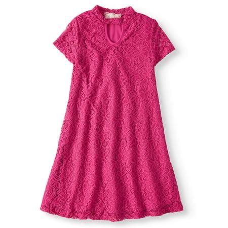 Mock Neck Keyhole Short Sleeve Lace Dress (Big - Lace Dresses For Girls
