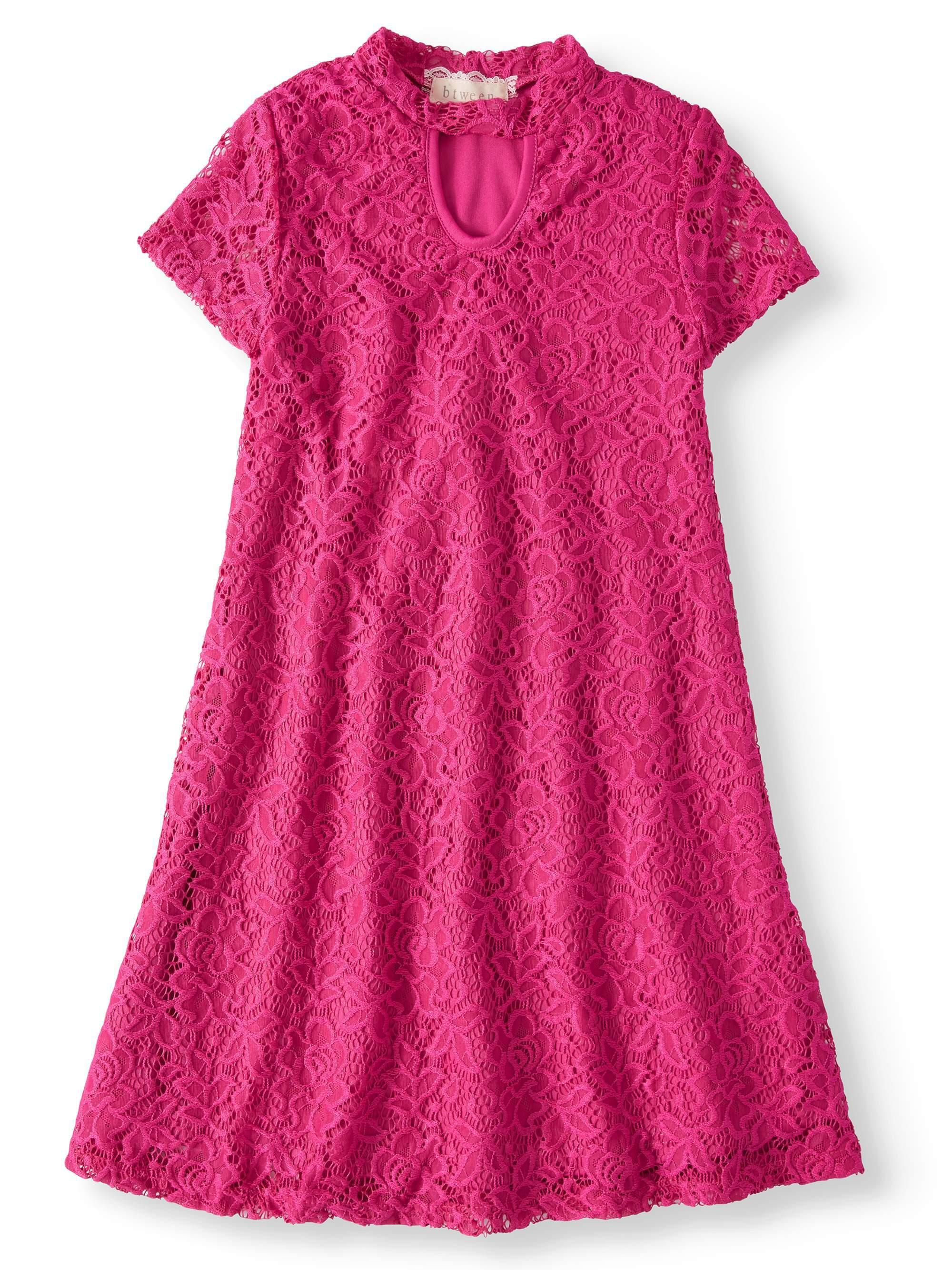 Mock Neck Keyhole Short Sleeve Lace Dress (Big Girls)