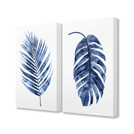 Collection Palm Fronds (The Stupell Home Decor Collection Indigo Dark Blue Watercolor Palm Frond Plant Painting Duo 2pc Stretched Canvas Wall Art Set, 16 x 1.5 x)