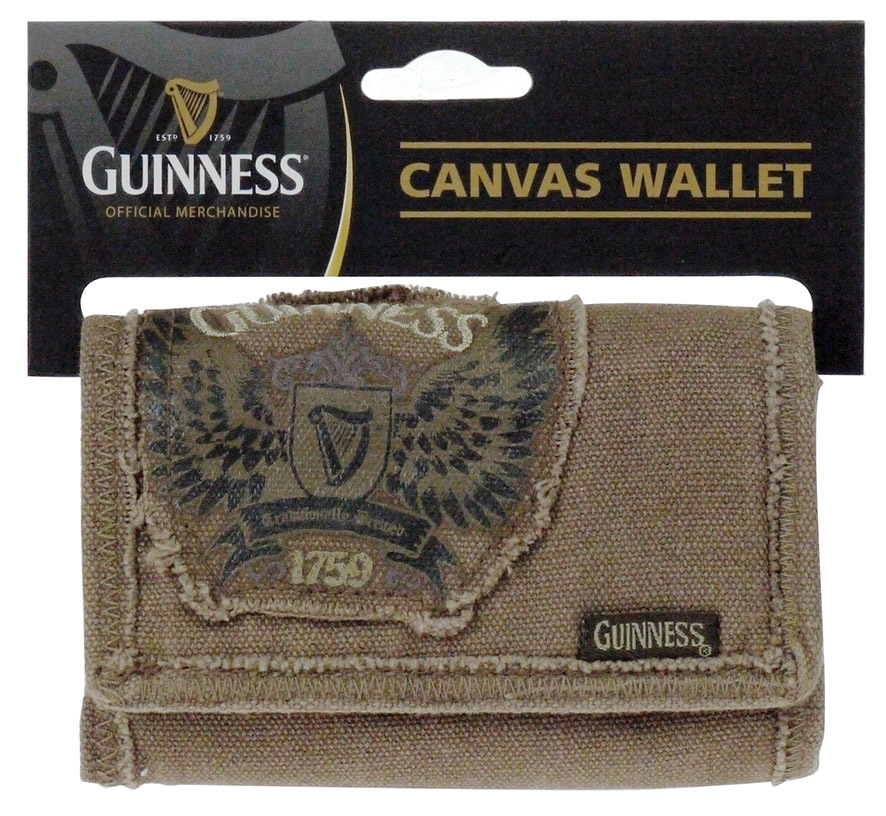 Guinness Canvas Wallet Featuring Wings Design Harp & 1759 Logo