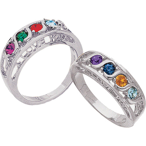 """Personalized """"S"""" Curve """"I Love You"""" Birthstone Silver-Tone Family Ring"""