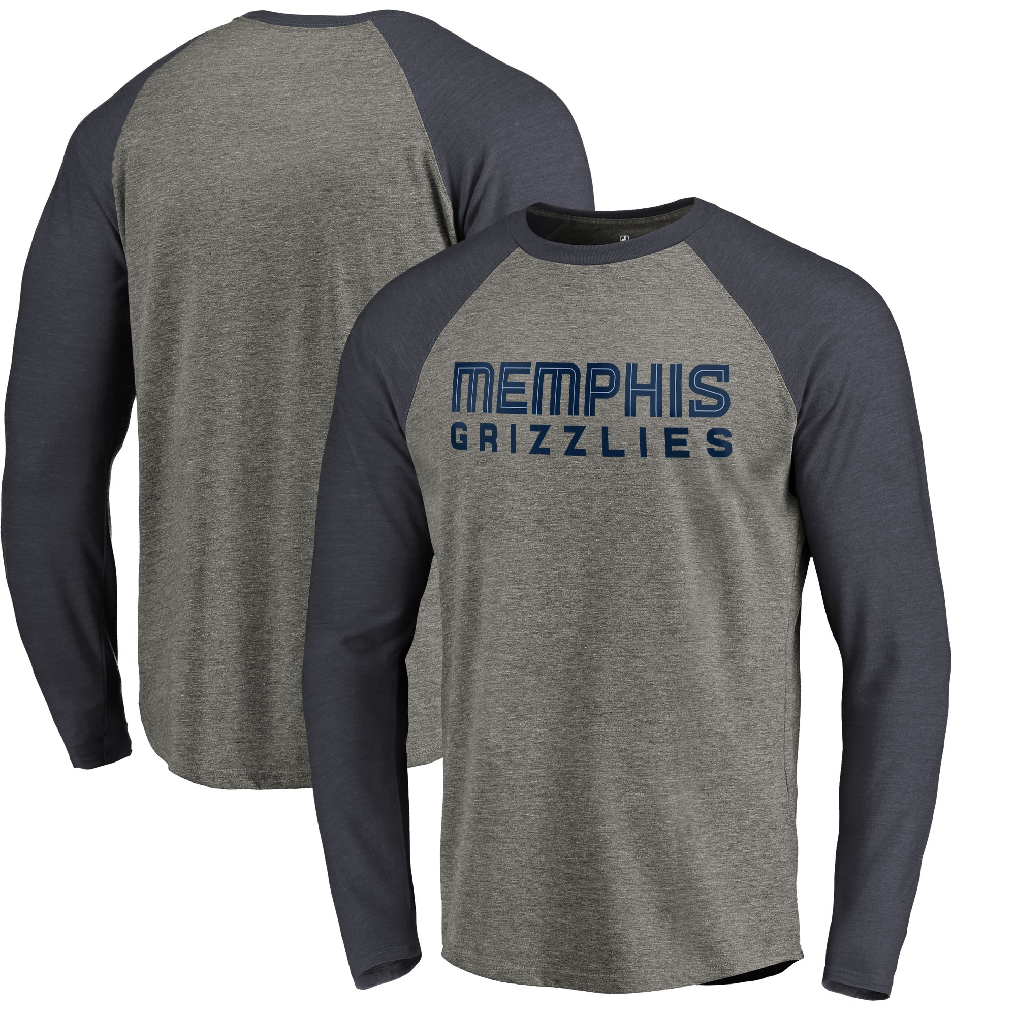 Memphis Grizzlies Fanatics Branded Primary Wordmark Tri-Blend Long Sleeve T-Shirt - Heathered Gray