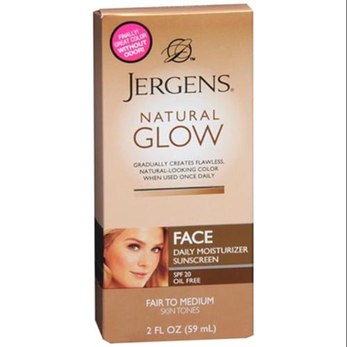 Jergens Natural Glow Healthy Complexion Daily Facial Moisturizer SPF 20, Fair To Medium Skin Tones 2 oz (Pack of 4)