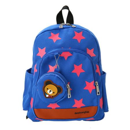 Kids School Bags Canvas Cute Star Pattern Travel Backpack Children Kindergarten Schoolbags With Coin Purse Blue