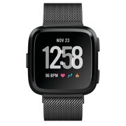 Fitbit Versa Bands for Women Men , Mignova Milanese Loop Stainless Steel Metal Replacement Bracelet Strap with Unique Magnet Lock Accessories Wristbands for Fitbit Versa Fitness Smart Watch (Black)