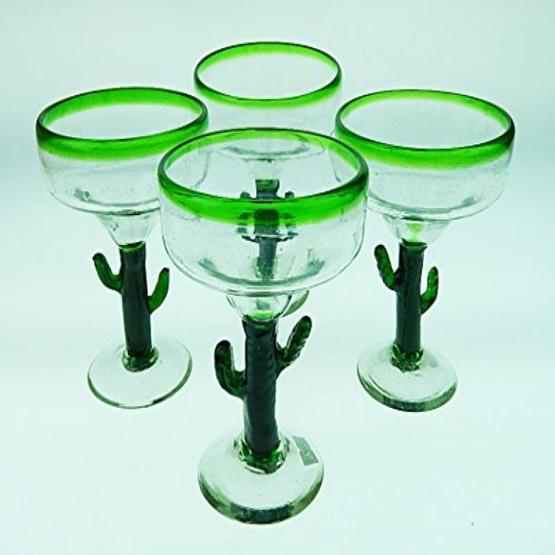 Mexican Glass Margarita Saguaro Cactus Green Rim Hand Blo...