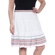 TOMMY HILFIGER Womens White Embroidered Knee Length A-Line Skirt  Size: 12