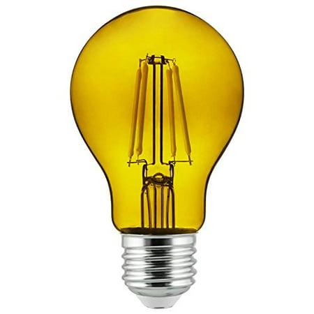 2Pk - Sunlite Yellow A19 LED 4.5W E26 Medium Base Filament Bulb (Rigid Dual Yellow Led)