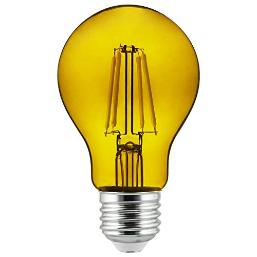 2Pk - Sunlite Yellow A19 LED 4.5W E26 Medium Base Filament Bulb