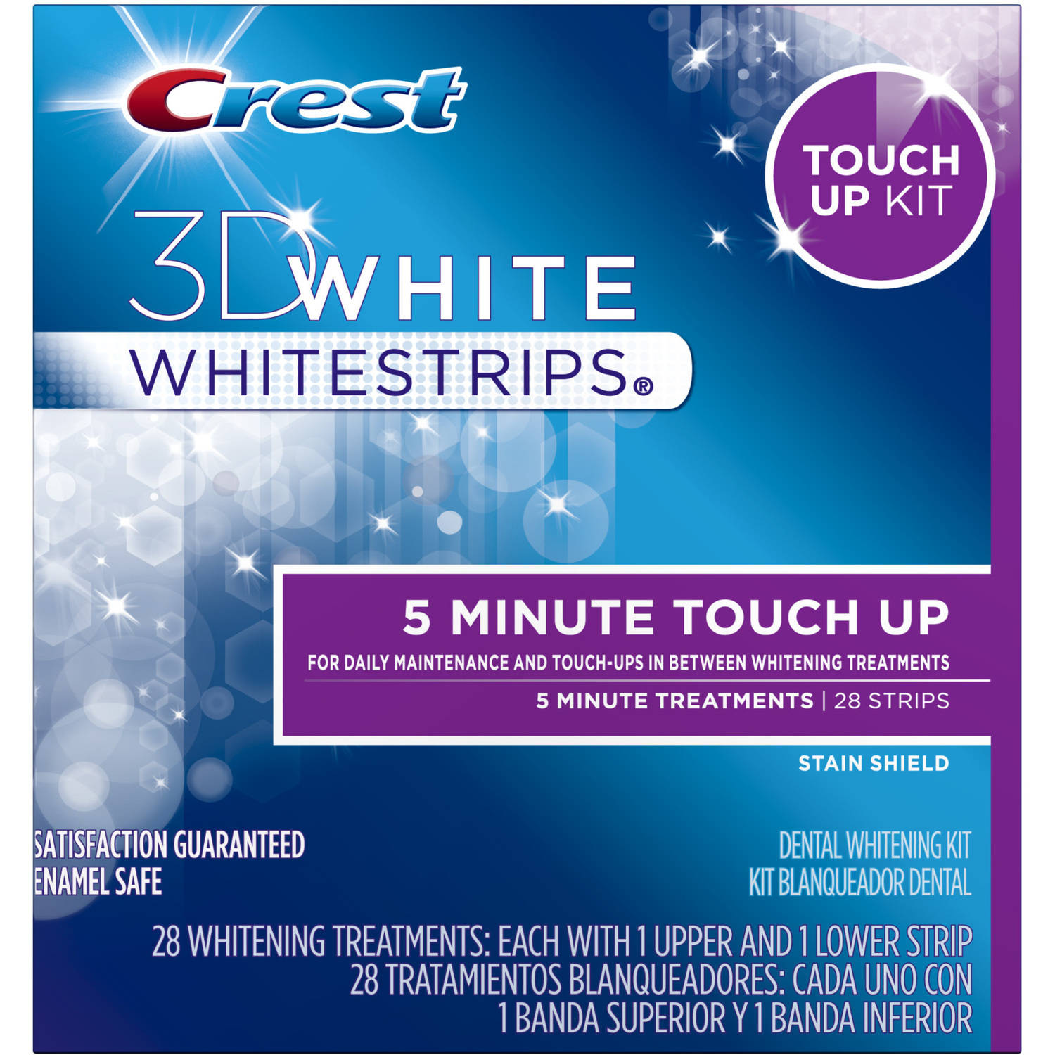 Crest 3D White Stain Shield 5 Minute Touch-Ups Teeth Whitening Strips, 28 count