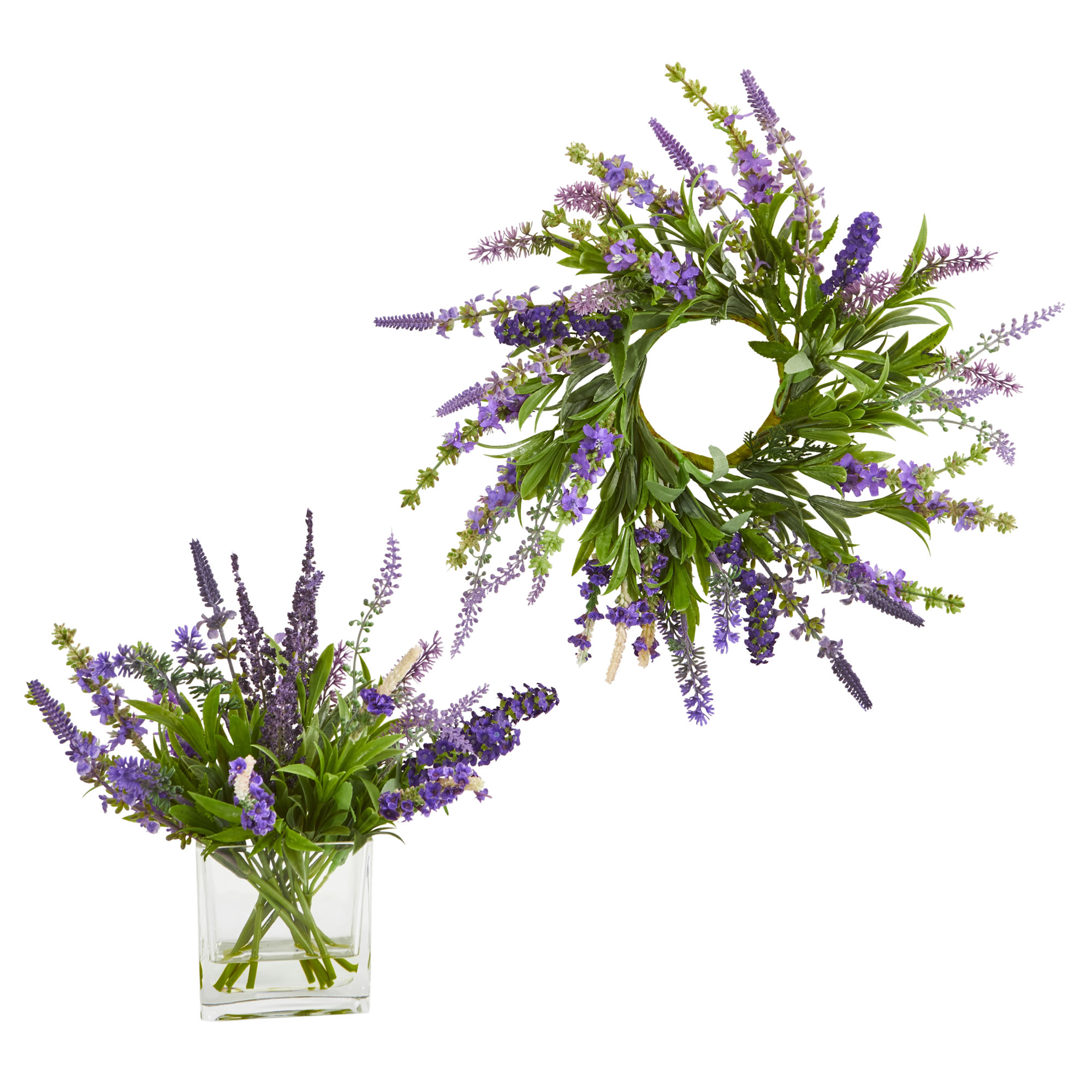 Nearly Natural 12-In. Lavender Arrangement and 14 in. Lavender Wreath (Set of 2)