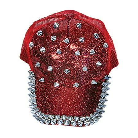 80s Rocker Chick (Adults Spiked Spiky Dominatrix Biker Rocker 80s Red Baseball)