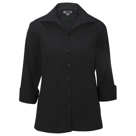 Poplin 3/4 Sleeve Shirt - Women's Open Neck 3/4 Sleeve Poplin Shirt 5040