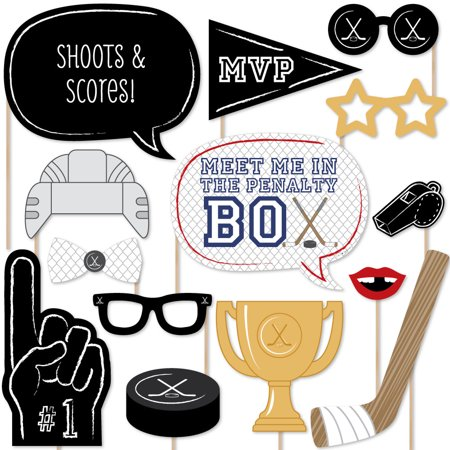 Shoots & Scores - Hockey Photo Booth Props Kit - 20 Count