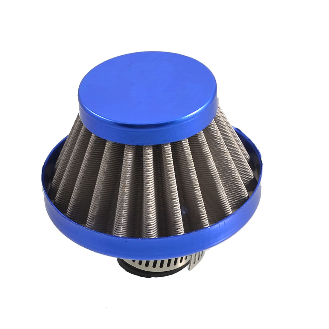 "Auto Car Rubber End Clamp on 11mm 0.5"" Intake Tapered Air Filter Blue"