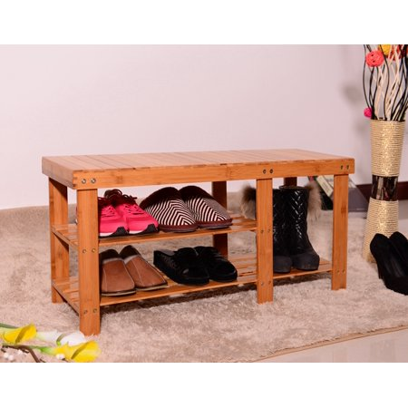 3-Tier Entryway Bench, SEGMART Damp-proof Bamboo Shoe and Boot Rack Bench, Sturdy Boot Organizers and Storage, Door Shoe Rack for Cubby Closet, Wardrobe, Cabinet, Garage, Entrance, Q0763 ()