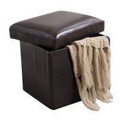 Black Faux Leather Upholstered Square Foldable Footstool Bench Ottoman With Storage