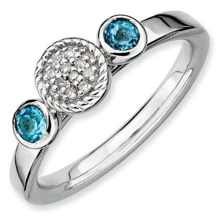 Sterling Silver Stackable Expressions Db Round Blue Topaz and Dia. Ring - Ring Size: 5 to 10 (Blue Topaz Ring Size 10)