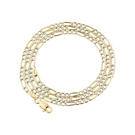 10K Yellow Gold 2.5mm Diamond Cut Figaro Chain Necklace Lobster Clasp, 18 Inches