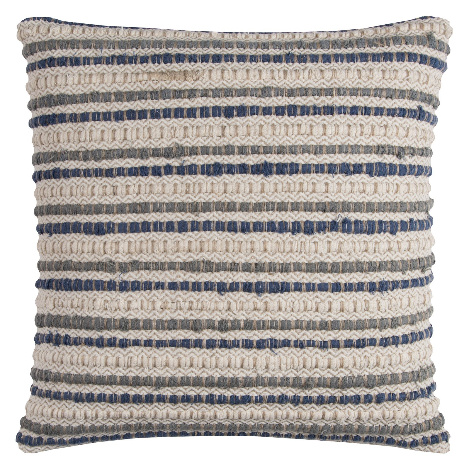 "Rizzy Home Striped Textured Decorative Throw Pillow With Zipper Closer, 20"" x 20"", Blue"