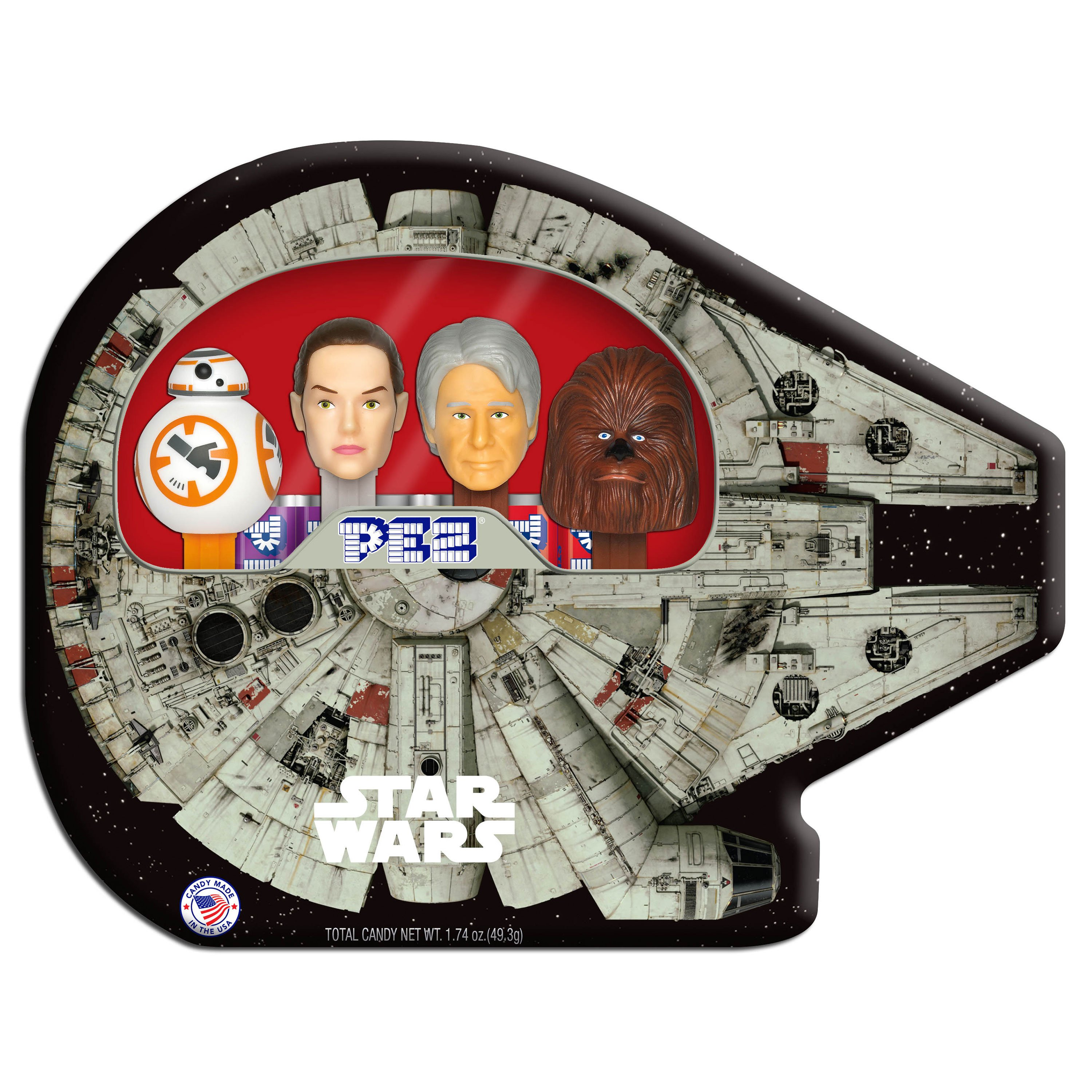 PEZ Candy Star Wars Millennium Falcon Gift Tin with 4 Candy Dispensers + 6 Rolls of Candy