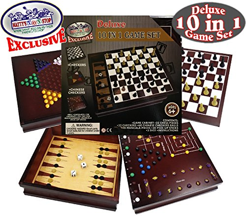 Mattys Toy Stop Deluxe 3-in-1 Chess Checkers /& Backgammon Foldable Travel Wooden Game Set