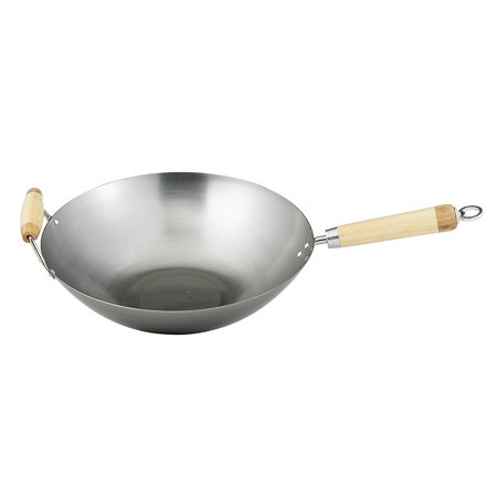 Helen Chen's Asian Kitchen 14-inch Carbon Steel Wok with Bamboo Handles