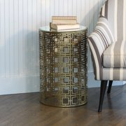 Knox and Harrison Pierced Geometric Pattern Round Accent Table - Antique Brass