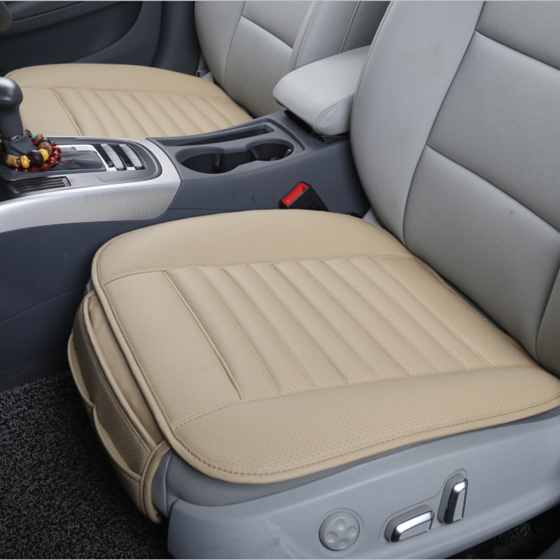 Car Seat Pad with PU Leather Bamboo Charcoal Car Seat Protector for for Auto Supplies Office Chair Single Seat without Backrest Car Seat Cushion 2-Pack,Black