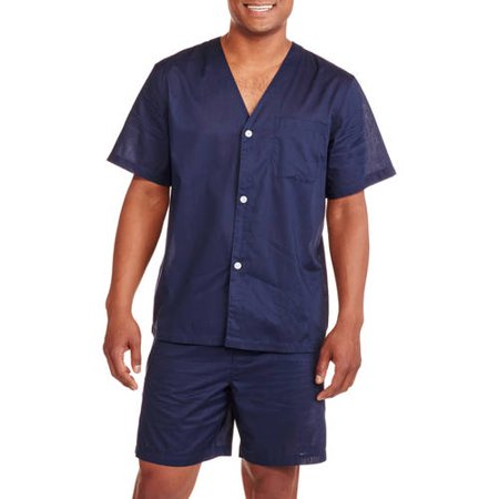 Fruit of the Loom Big Men's Short Sleeve Knee-Length Pant Solid Pajama Set (Mans Onesie)