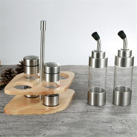 Seasoning Bottle Set with Wooden Rack Translucent Pepper Bottle Holder Kitchen Tools for Oil Salt Vinegar Soy Sauce Storage - image 3 de 9