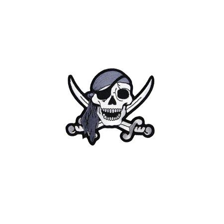 Embrodered Pirate Skull Iron or Sew On Patch Jolly Roger Biker Vest Hat Bag Applique