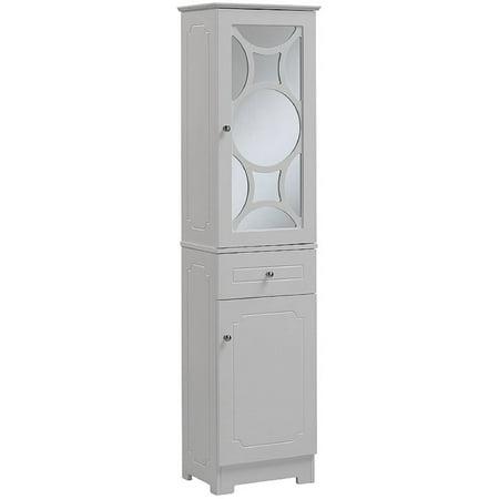 Runfine Linen Tower, 1 Mirror Door with 1 Adjustable Shelf, 1 Drawer, 1 Wood