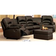 6-Pc Seating Set with Ottoman in Brown