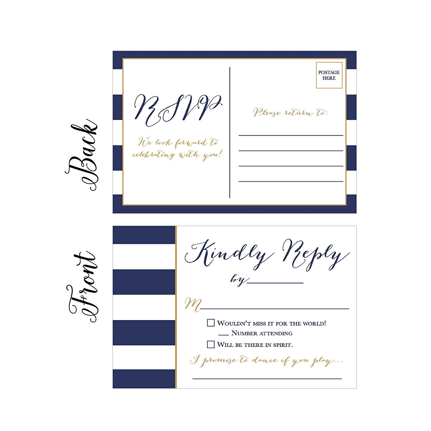 50 Navy RSVP Cards, RSVP Postcards No Envelopes Needed, Response Card, Blank RSVP Reply, RSVP for Wedding, Rehearsal Dinner, Baby Shower, Bridal, Birthday, Engagement, Bachelorette Party Invitations