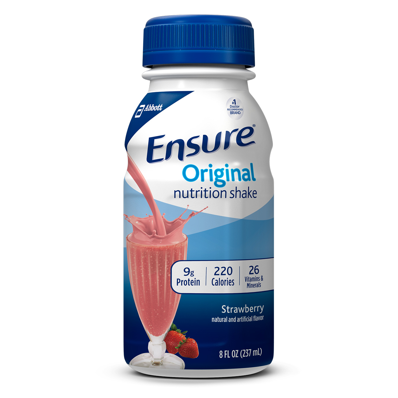 Ensure Original Nutrition Shake Strawberry with 9 grams of protein, Meal Replacement Shakes, 8 Fl oz Bottles, 16 Ct