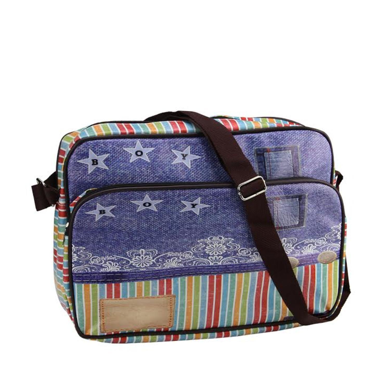 "15"" Decorative Stripes and Jean Design Crossbody Bag/Purs..."