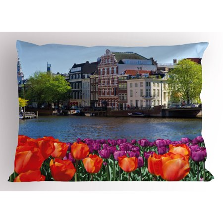 Landscape Pillow Sham European City Holland Amsterdam Scenery of Old Victorian Era Houses Art Print, Decorative Standard Size Printed Pillowcase, 26 X 20 Inches, Multicolor, by Ambesonne