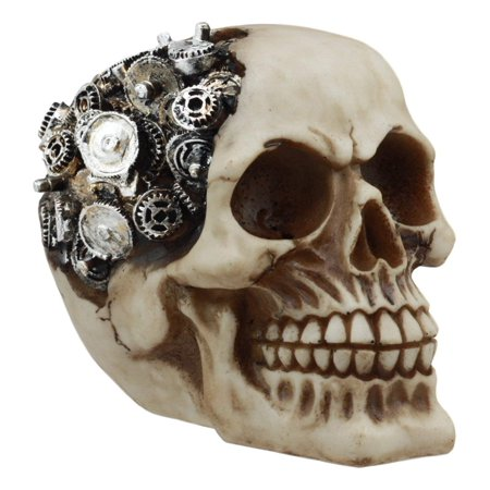 Cranium Giggle Gear - Ebros Steampunk Chronosphere Gearwork Robotic Skull Statue 6