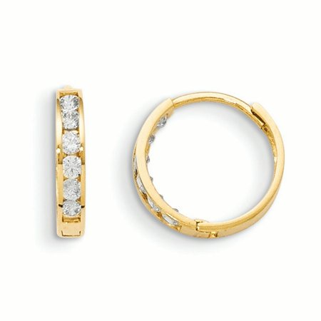- 14k Yellow Gold Cubic Zirconia Cz Hinged Hoop Earrings Ear Hoops Set