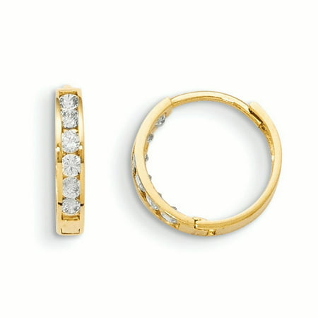 14k Yellow Gold Cubic Zirconia Cz Hinged Hoop Earrings Ear Hoops (14k Gold Greek Key Earrings)