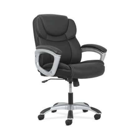 Sadie Leather Executive Computer/Office Chair with Arms - Ergonomic Swivel Chair, Black (Arms Brick)
