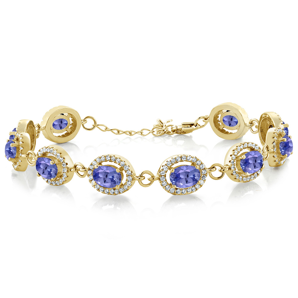 10.38 Ct Oval Blue Tanzanite 18K Yellow Gold Plated Silver Bracelet by